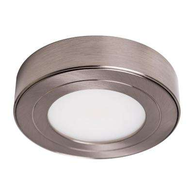 Delicieux PureVue Dimmable Soft White LED Puck Light Brushed Steel Finish