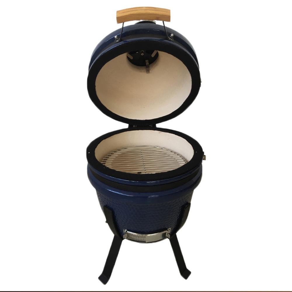 Lifesmart 15 in. Kamado Ceramic Grill & Smoker Value Bundle with Electric Starter, Cover and Cooking Stone in Blue