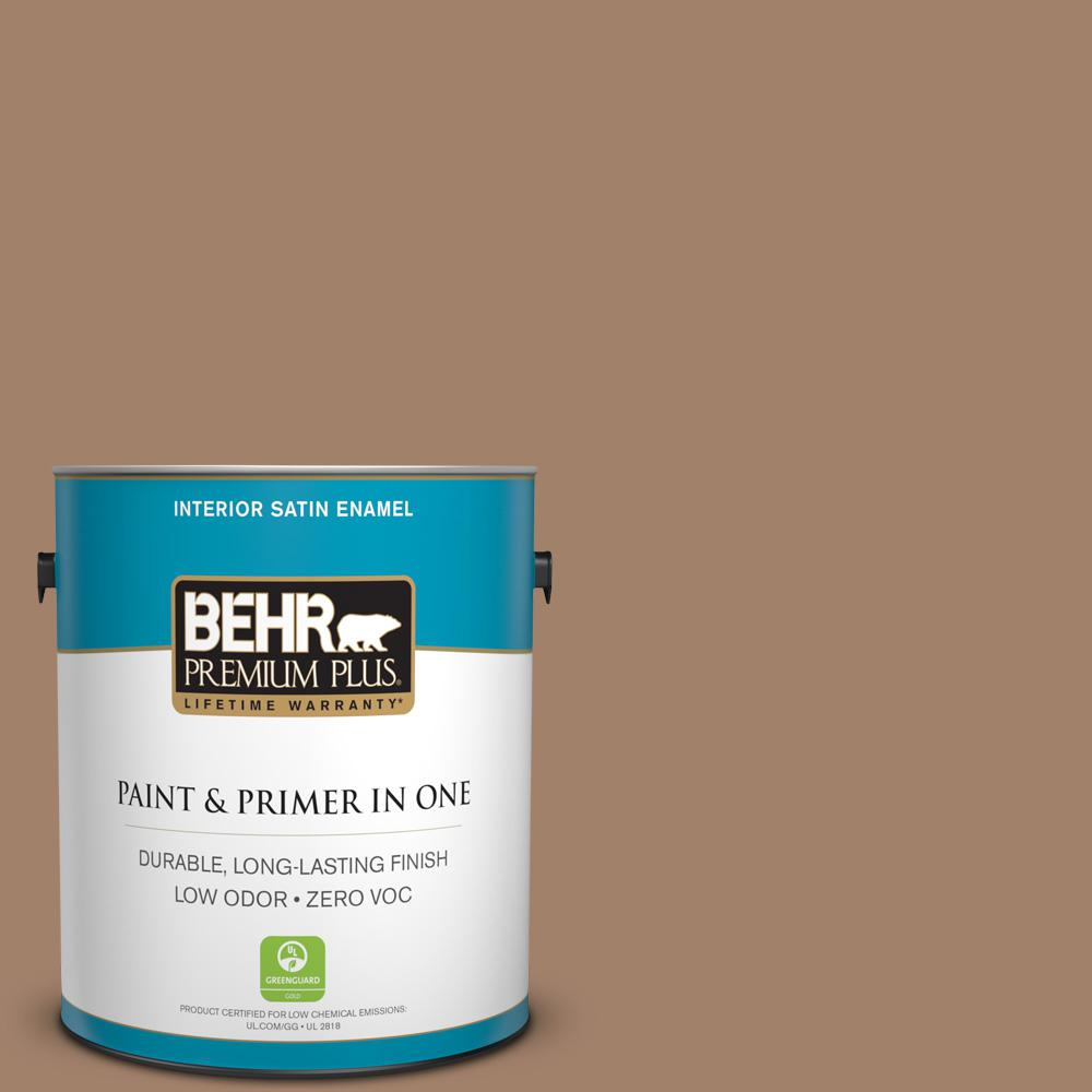 BEHR Premium Plus 1 gal. #280F-5 New Chestnut Satin Enamel Zero VOC Interior Paint and Primer in One