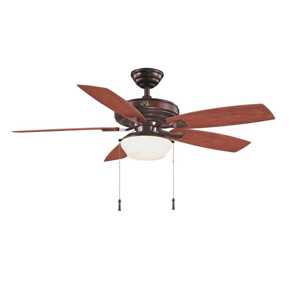 Hampton Bay Gazebo II 52 in. Indoor/Outdoor Weathered Bronze Ceiling Fan with Light Kit