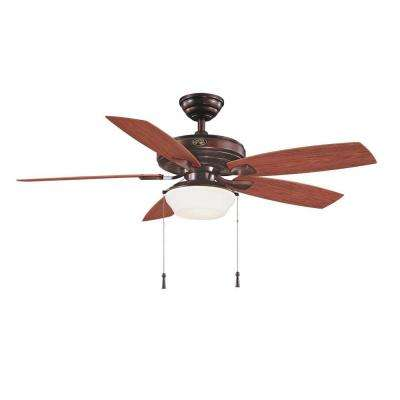 Gazebo II 52 in. Indoor/Outdoor Weathered Bronze Ceiling Fan with Light Kit