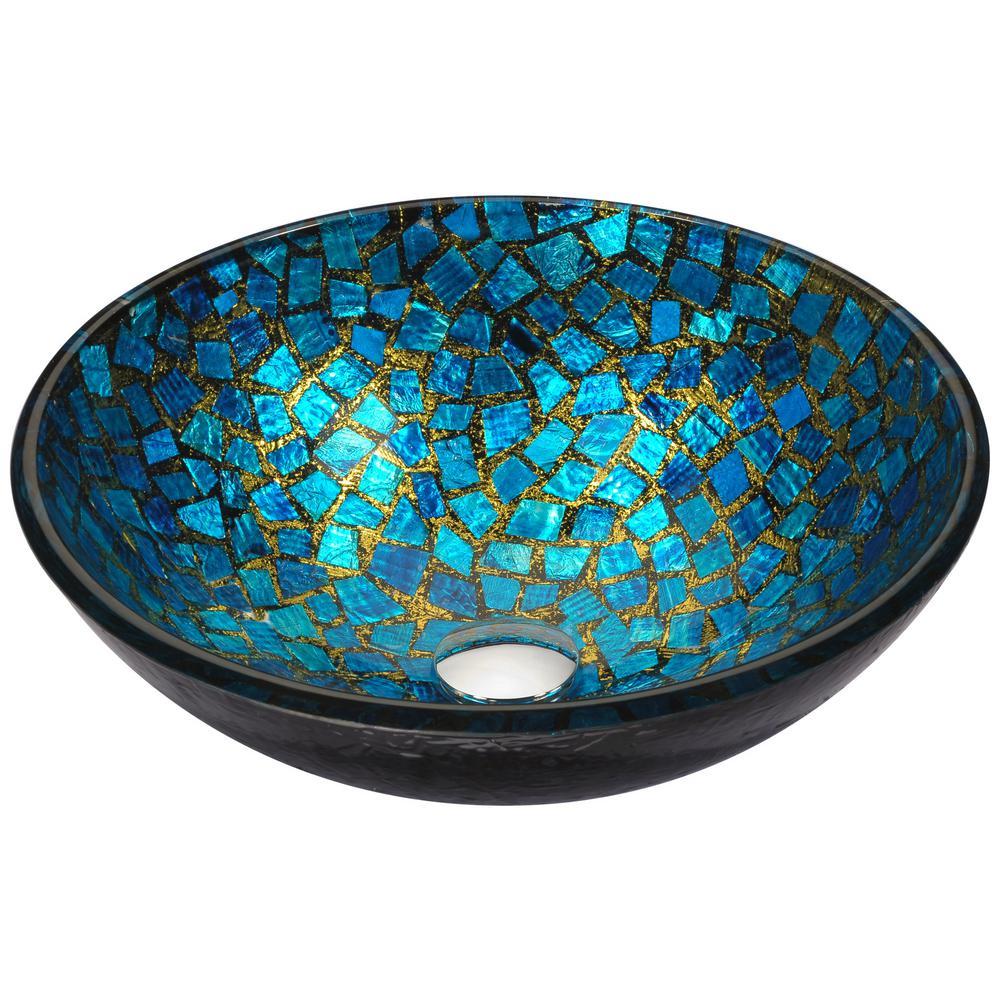 Mosaic Series Vessel Sink in Blue/Gold Mosaic