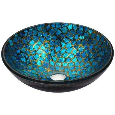 Mosaic Series Vessel Sink in Blue/Gold Mosaic