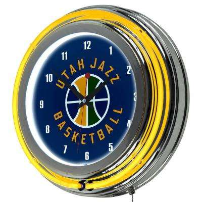 14 in. Utah Jazz NBA Chrome Double Ring Neon Wall Clock