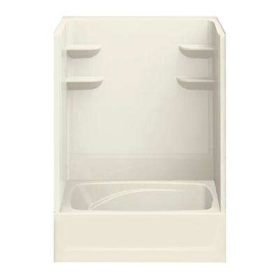 43 in. x 60 in. x 79 in. Bath and Shower Kit Right-Hand Drain in Biscuit