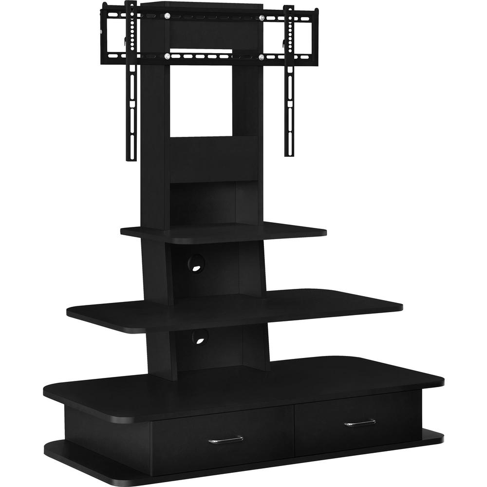 Black 70 In Tv Stand With Mount And Drawers Hd10077 The Home Depot