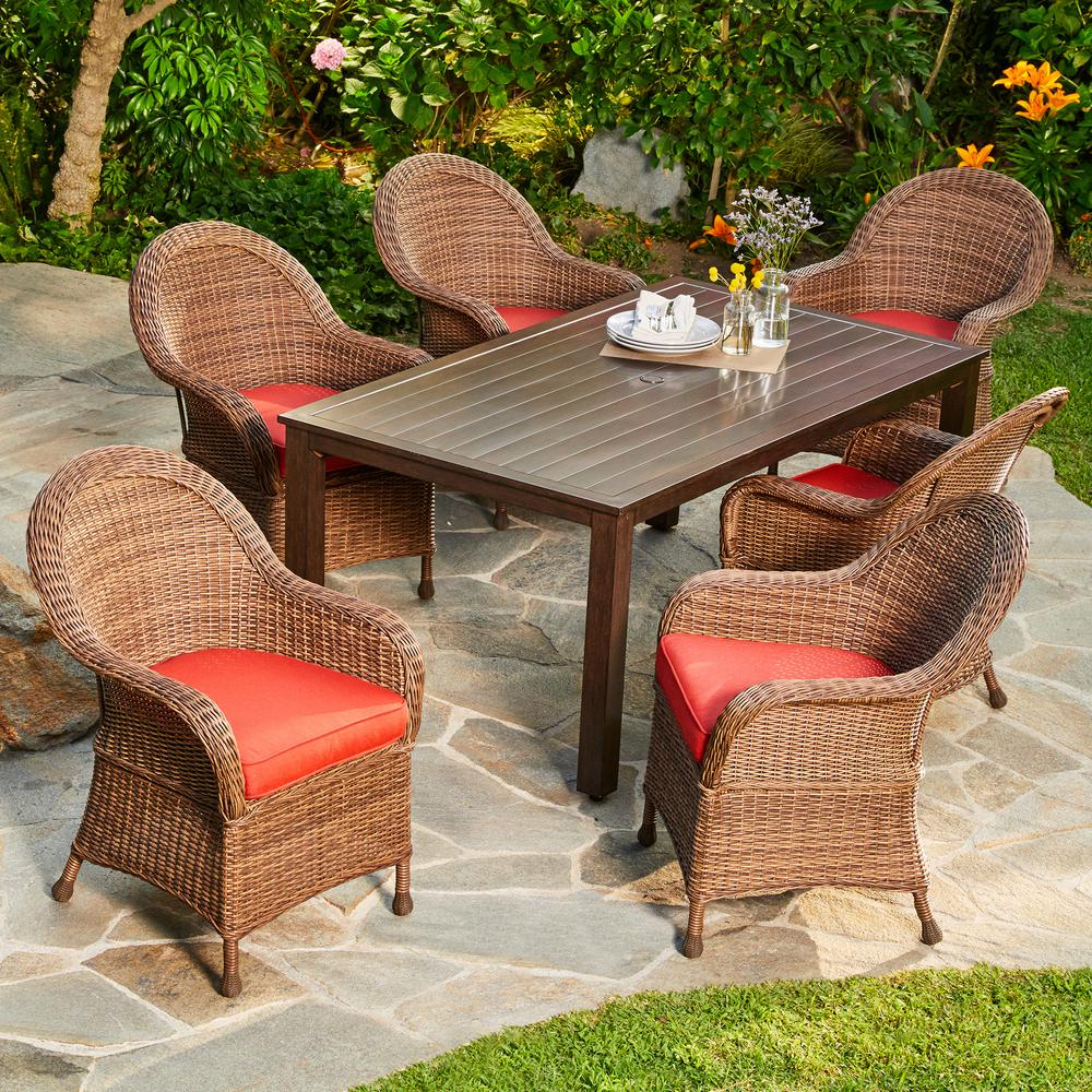 Attirant Royal Garden Hacienda 7 Piece Wicker Outdoor Dining Set With Red Cushions