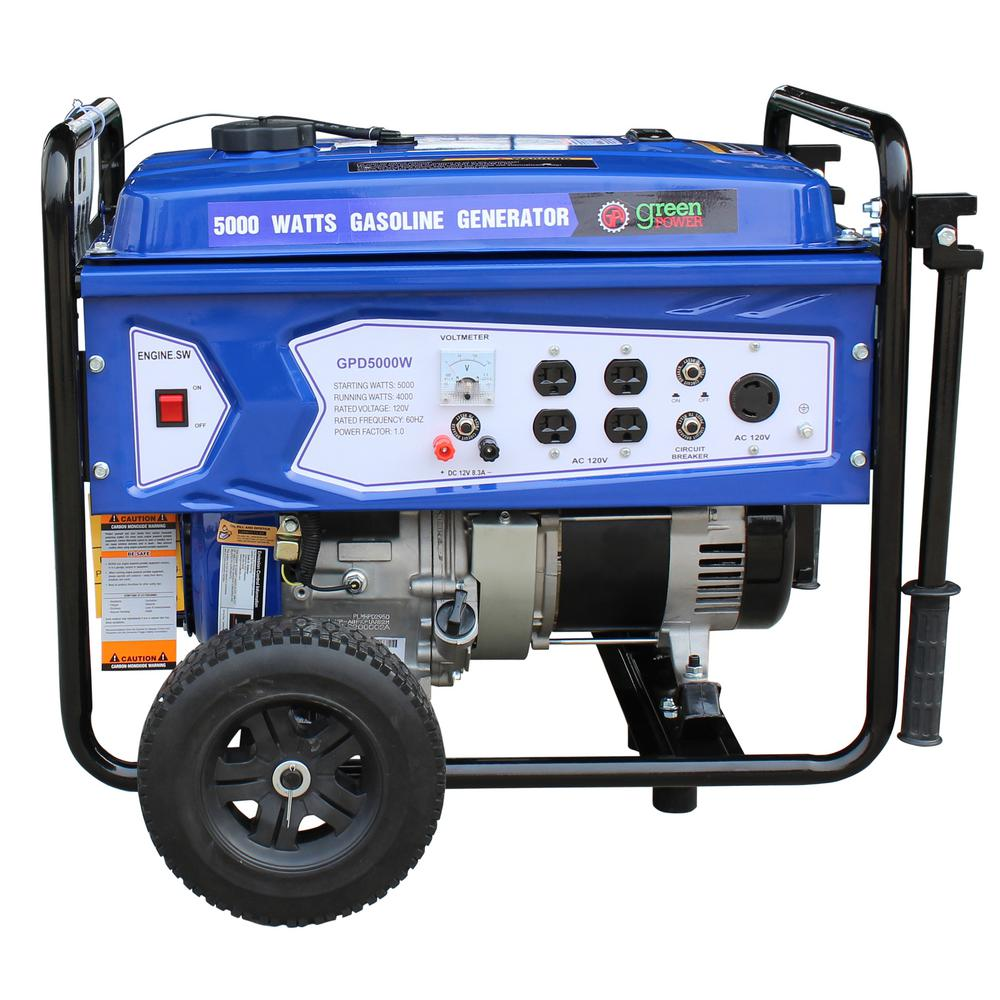 GreenPower Green Power 5000/3850-Watt Gasoline Powered Recoil Start Portable Generator with 223cc 7.5HP LCT Engine