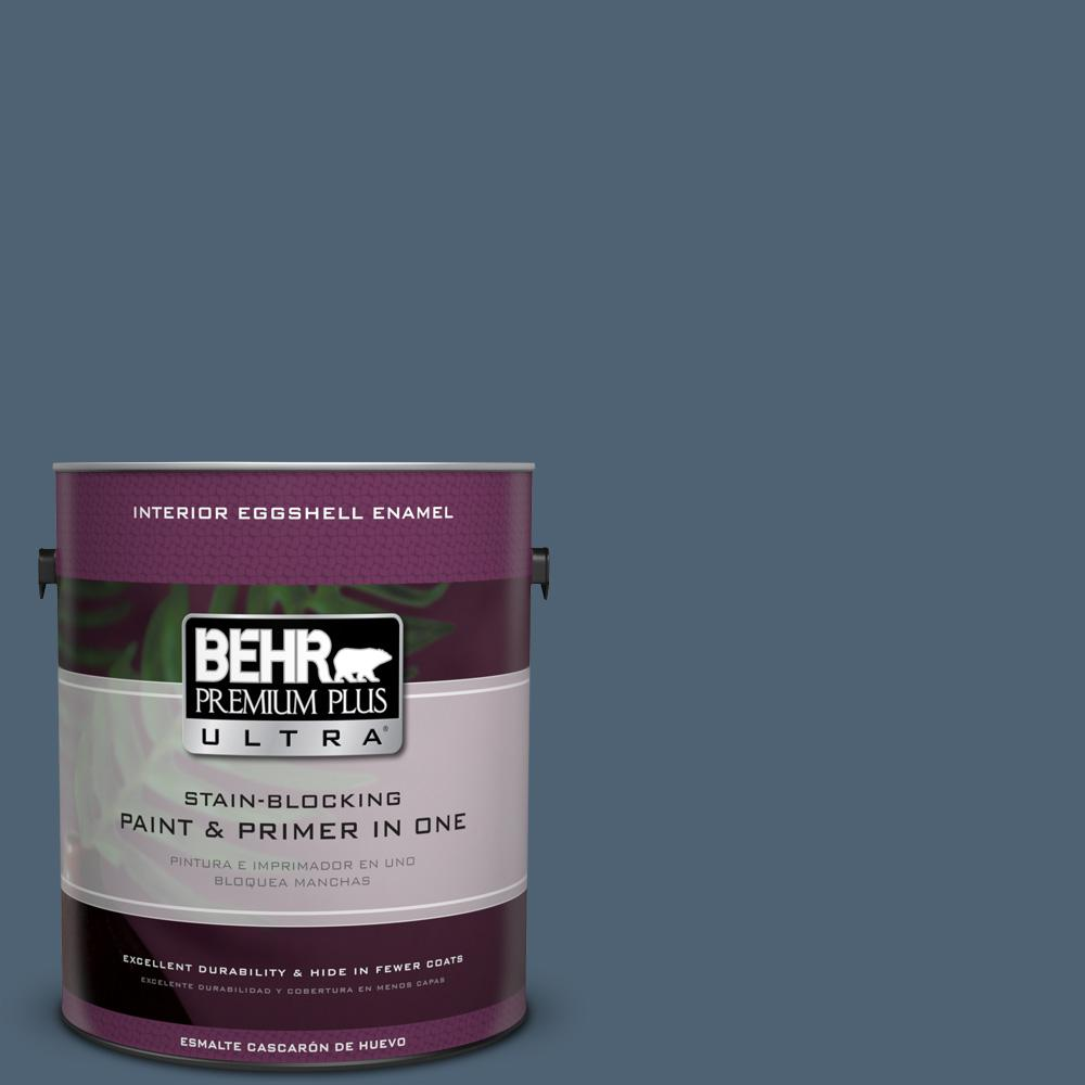 1 gal. #T17-17 Midnight Show Eggshell Enamel Interior Paint