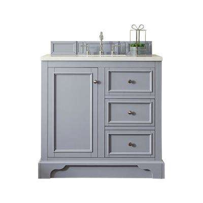 De Soto 36 in. W Single Vanity in Silver Gray with Marble Vanity Top in Carrara White with White Basin