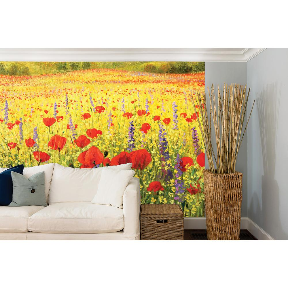 Brewster 118 in x 98 in summer meadow wall mural for Brewster wall mural