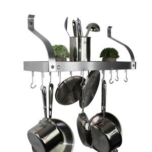 Handcrafted 24 in. Gourmet Bookshelf Wall Rack w Curved Arm and 12-Hooks Stainless Steel