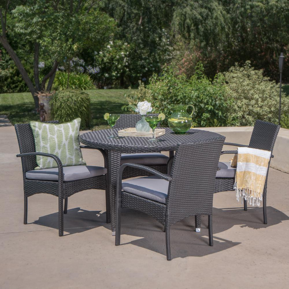 Noble House Logan Grey 5-Piece Wicker Circular Outdoor Dining Set with Grey  Cushion