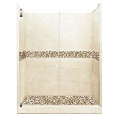 Roma Grand Hinged 32 in. x 60 in. x 80 in. Left Drain Alcove Shower Kit in Desert Sand and Satin Nickel Hardware