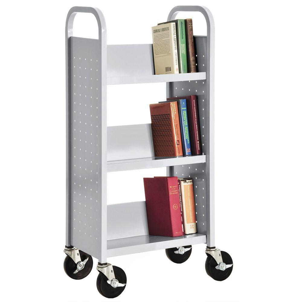 Sandusky Dove Gray Mobile Steel Bookcase