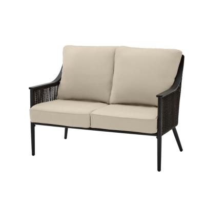 Bayhurst Black Wicker Outdoor Patio Loveseat with CushionGuard Putty Tan Cushions