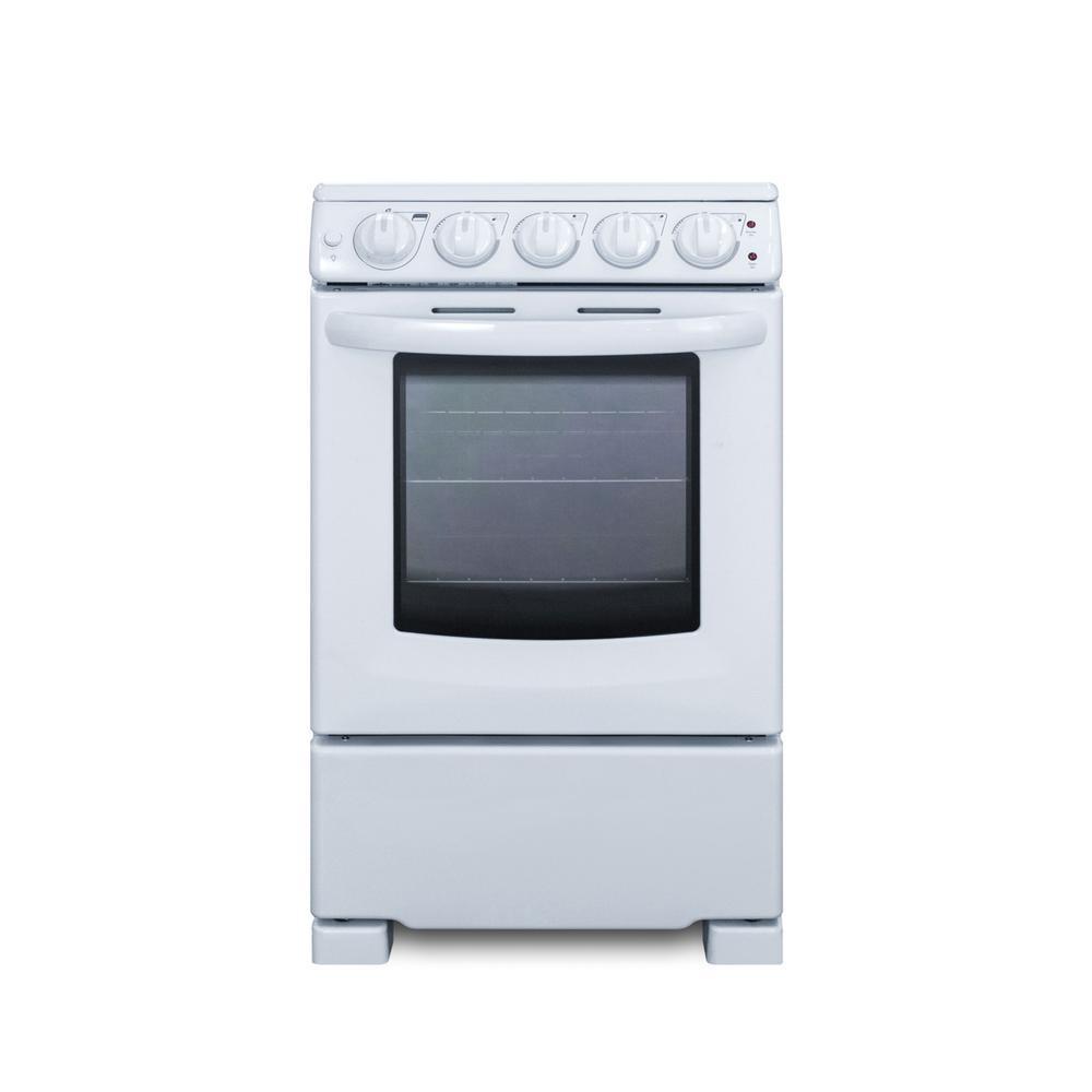 Summit Appliance 20 in. 2.3 cu. ft. Slide-In Electric Range in White