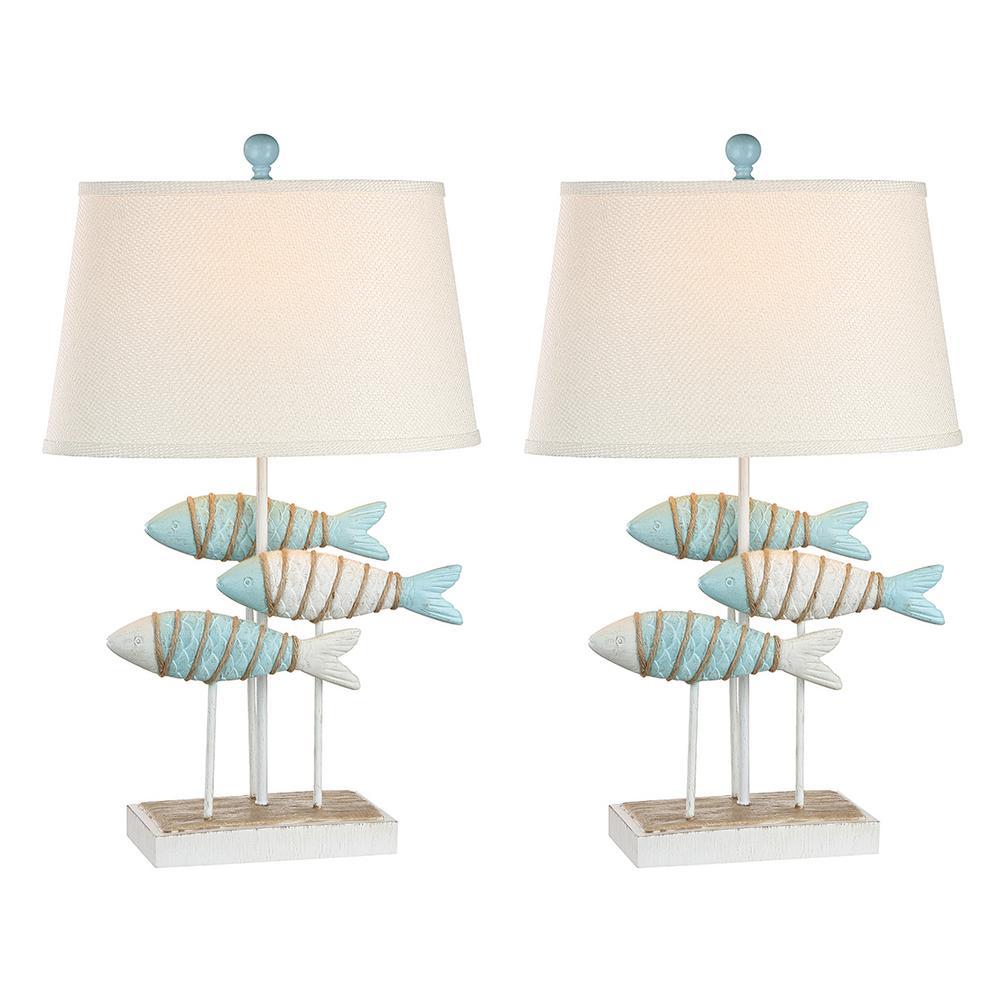 29 in. Glacier Blue Indoor Table Lamp Set