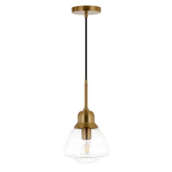 Brooks 1-Light Brass Pendant with Seeded Glass Shade