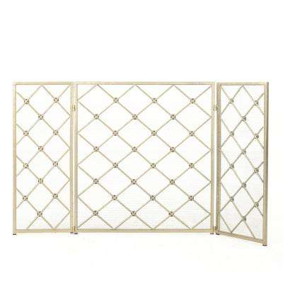Chelsey Gold Metal 3-Panel Fireplace Screen