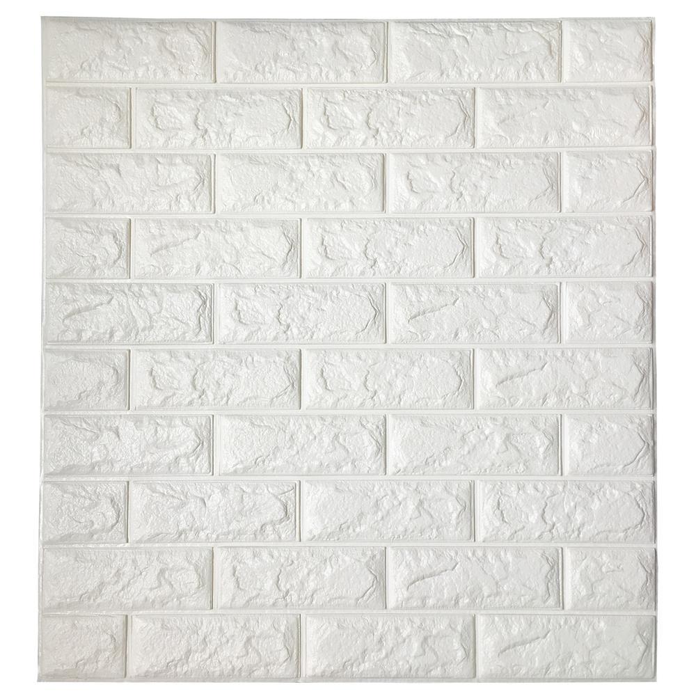 64 sq. ft. White Brick Peel and Stick 3D Wallpaper