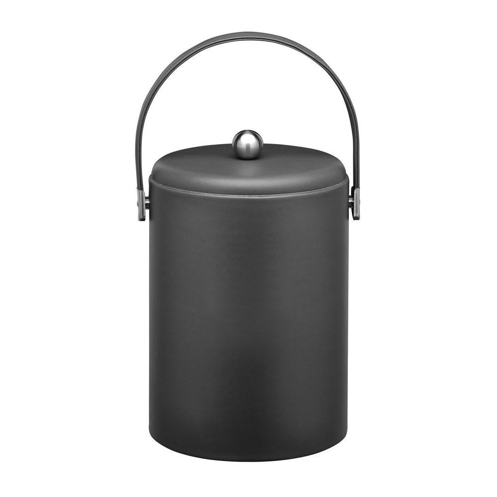 Kraftware SoHo Black Leatherette 5 Qt. Ice Bucket with Stitched Handles, Leatherette Domed RG Lid, Chrome Side Hardware