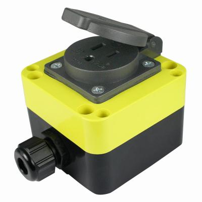 Weatherproof Single Outlet, 15 Amp, 120 Volt, with M16 and M20 Cable Glands, IP54