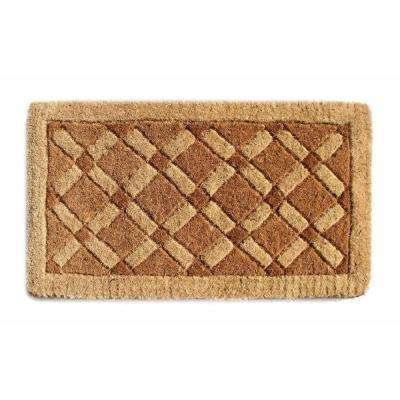 Traditional Coir Mat, Cross Board, 30 in. x 18 in. Natural Coconut Husk Doormat