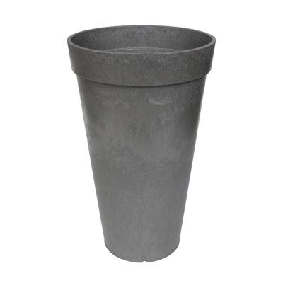 Aria 12 in. W x 20 in. H Round Pewter Rubber Self-Watering Planter