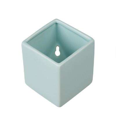 Cube 5-1/2 in. x 6 in. Mint Green Ceramic Wall Planter