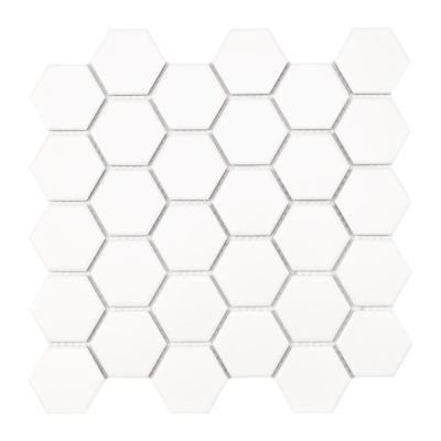 White Hexagon 10.55 in. x 11.02 in. x 6 mm Matte Porcelain Mesh-Mounted Mosaic Tile (0.81 sq. ft.)