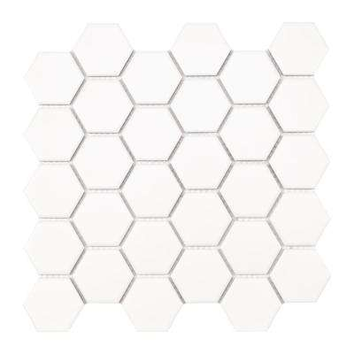 10.55 in. x 11.02 in. x 6 mm White Hexagon Matte Porcelain Mesh-Mounted Mosaic Tile (0.81 sq. ft.)