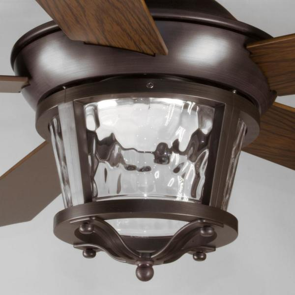 Progress Lighting Smyrna Collection 52 In Led Antique Bronze Indoor Or Outdoor Ceiling Fan With Light Kit P2576 2030k The Home Depot