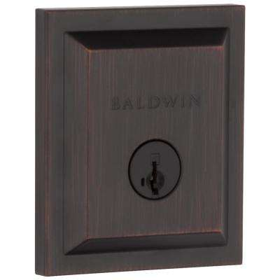 Square Venetian Bronze Low Profile Single Cylinder Deadbolt Featuring SmartKey Security