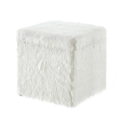 Ryleigh White Faux Fur Cube Storage Ottoman