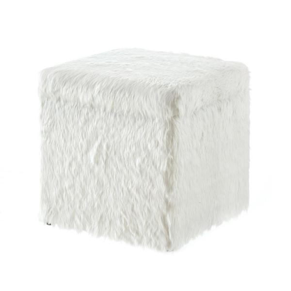 Swell Inspired Home Ryleigh White Faux Fur Cube Storage Ottoman Pabps2019 Chair Design Images Pabps2019Com