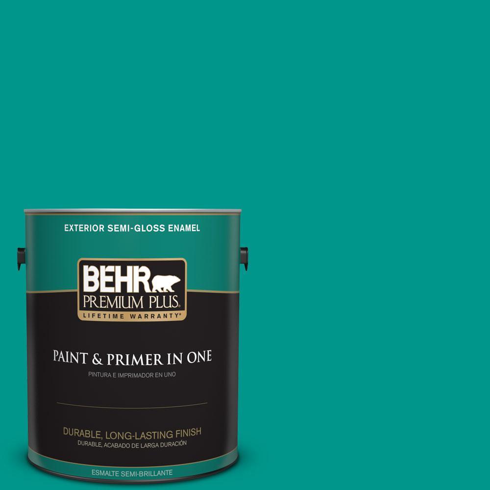 BEHR Premium Plus 1-gal. #S-G-490 Intense Teal Semi-Gloss Enamel Exterior Paint