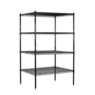 36 in. W x 63 in. H x 24 in. D Galvanized Wire Stationary Wire Shelving in Black