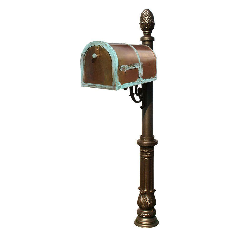 Antique Brass Patina Post Mount Non-Locking Mailbox with Bronze Lewiston Post