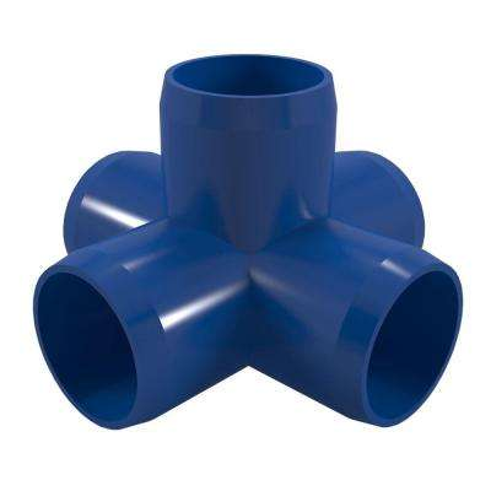 1 in. Furniture Grade PVC 5-Way Cross in Blue (4-Pack)