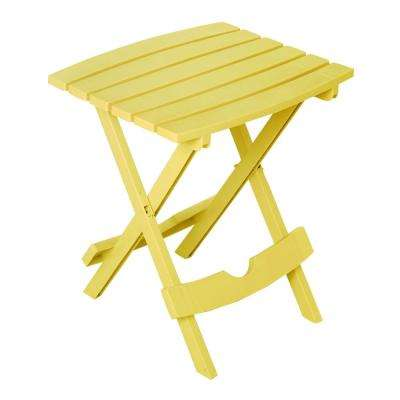 Quik-Fold Yellow Plastic Resin Outdoor Side Table