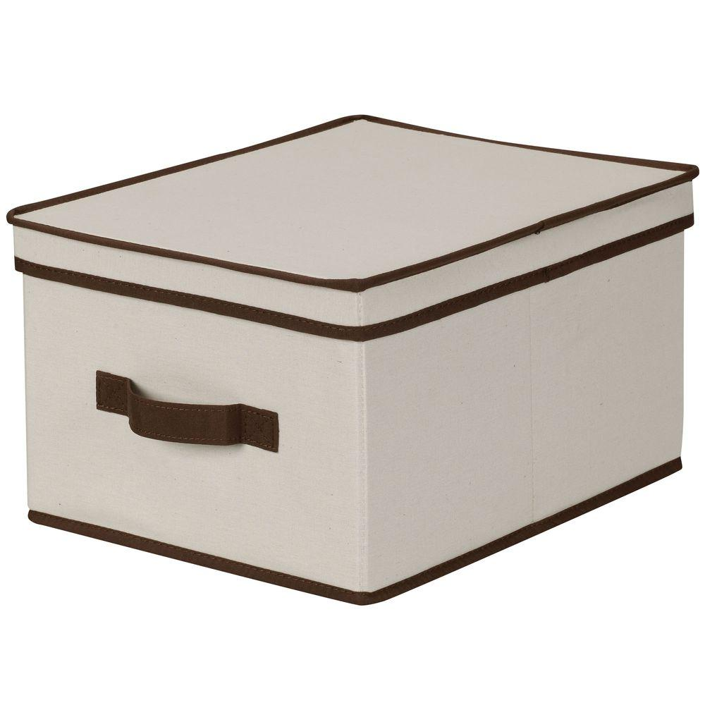 Household Essentials 12 in. x 15 in. Natural Canvas with Brown Trim Large Storage Box