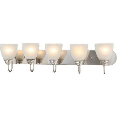 Mari 5-Light Indoor Brushed Nickel Bath or Vanity Light Bar or Wall Mount with White Frosted Glass Bell Shades