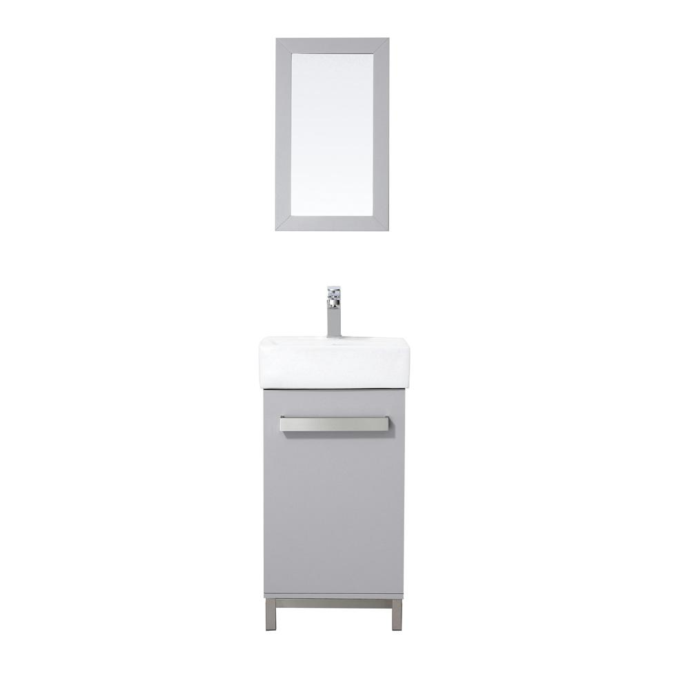 Home Decorators Collection Maelynn 18 In W X 12 D Vanity Dove Grey With Ceramic Top White Sink And Mirror