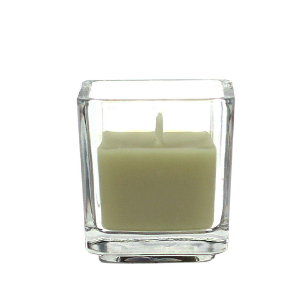 Zest Candle 2 in. Sage Green Square Glass Votive Candles (12-Box)