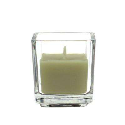 2 in. Sage Green Square Glass Votive Candles (12-Box)