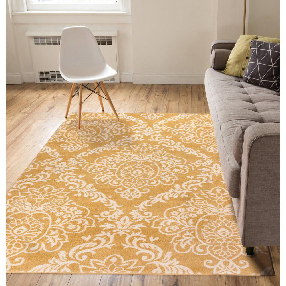 Well Woven Sydney Magnolia Damask Gold 5 Ft. X 7 Ft