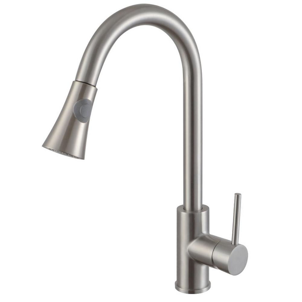 Y Decor Luxurious Single Handle Pull-Down Sprayer Kitchen Faucet in Brushed Nickel