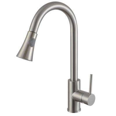 Luxurious Single Handle Pull-Down Sprayer Kitchen Faucet in Brushed Nickel Finish