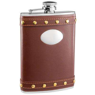 Rocker Brown Leather Studded Liquor Flask